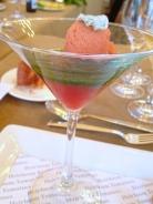 Heirloom Tomato Terrine w/ Basil Gelee, Tomato Sorbet and Goat Cheese Gougeres - Ritz Carlton Half Moon Bay